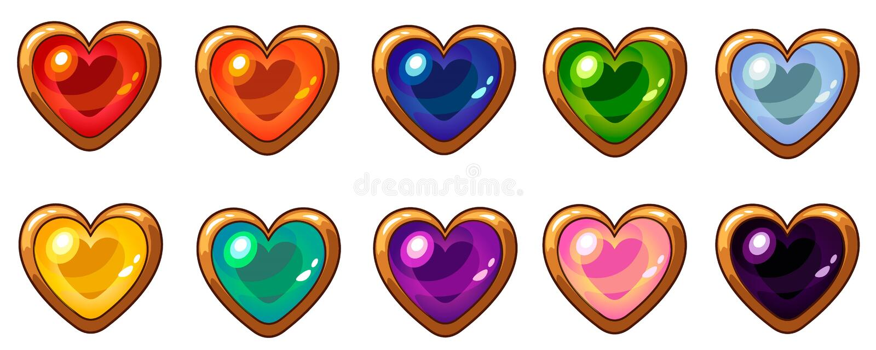 Kleurrijke hartgem met gouden die kader voor het mobiele ontwerp van de spelinterface wordt geplaatst vector illustratie