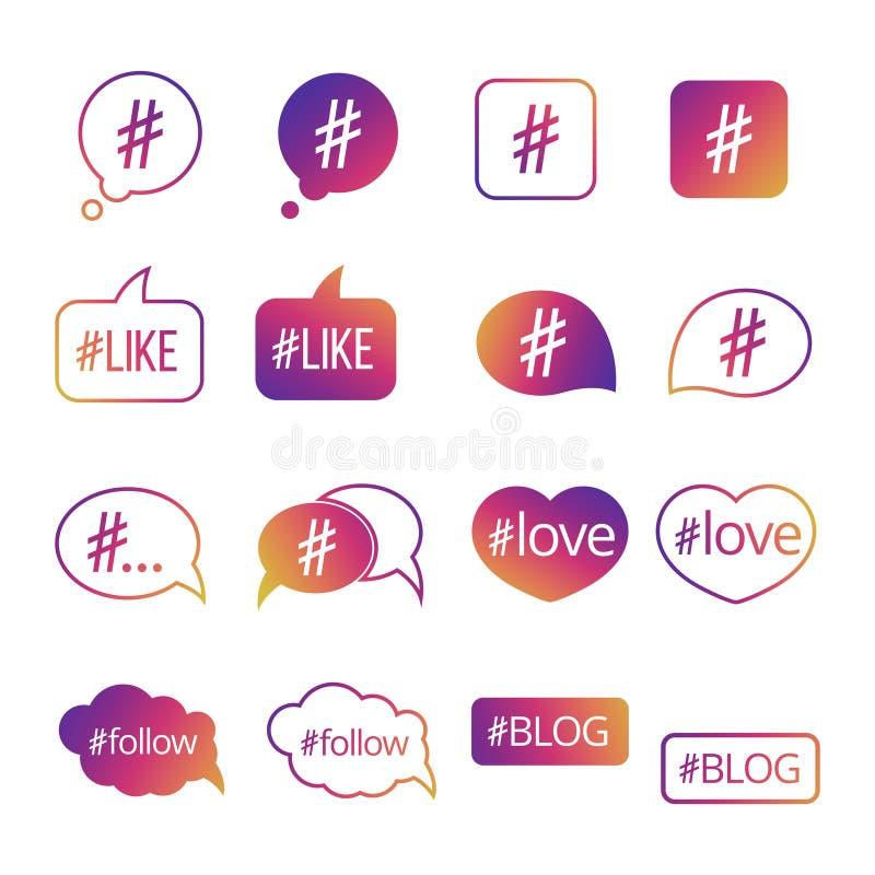 Kleurrijke hashtag post sociale media vectorpictogrammen royalty-vrije illustratie