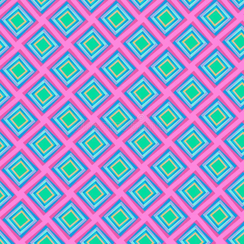 Kleurrijke heldere diamanten die patroon in roze en blauw herhalen royalty-vrije illustratie