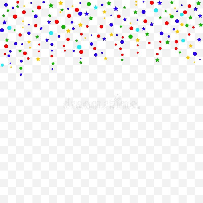 Kleurrijke heldere die confettien op transparante achtergrond worden geïsoleerd Vakantie Feestelijke Vectorillustratie stock illustratie