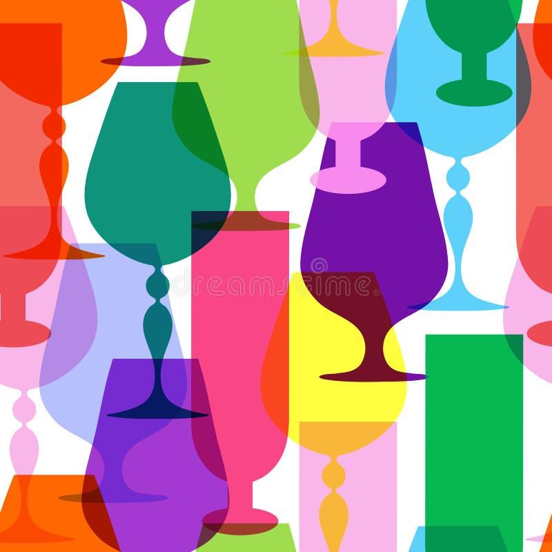 Kleurrijke heldere wijnglazen stock illustratie