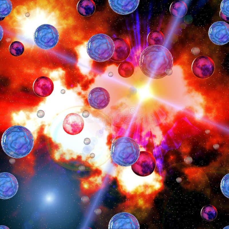 Kleurrijke hemel en planeten
