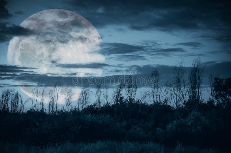 Kleurrijke hemel met donkere bewolkte en grote maan over silhouet van RT stock foto's
