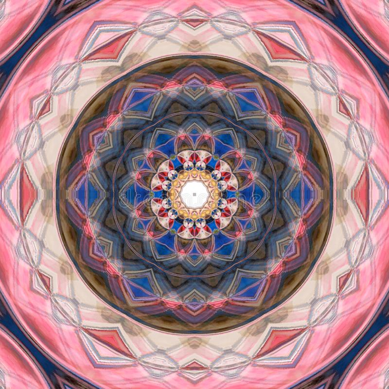 Kleurrijke Henna Mandala Background in blauw en roze royalty-vrije illustratie