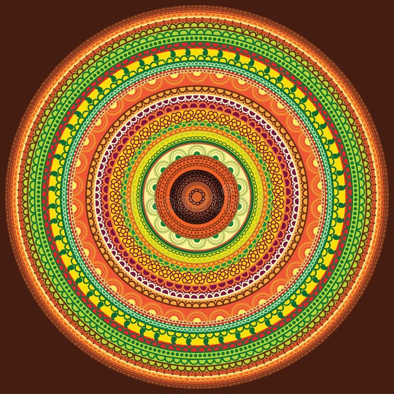 Kleurrijke hennamandala stock illustratie