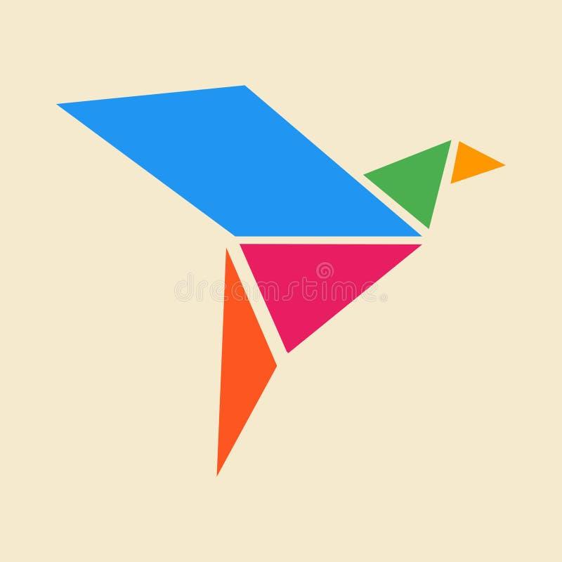 Kleurrijke het embleem vectorillustratie van de origamivogel stock illustratie