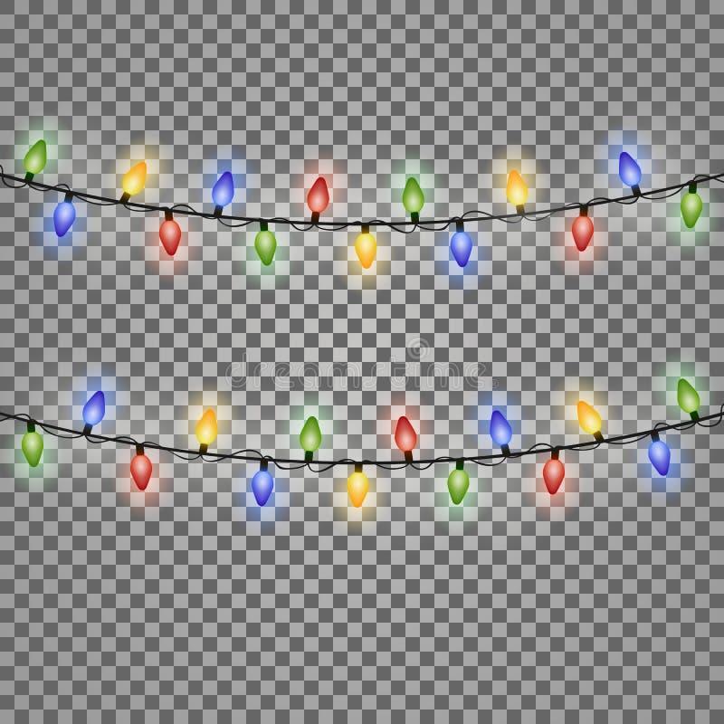 Kleurrijke het Gloeien Kerstmislichten Vector illustratie vector illustratie