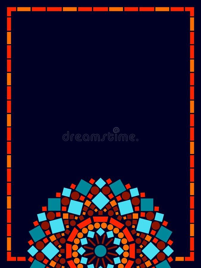 Kleurrijke het kaderachtergrond van cirkel bloemenmandala in blauw en sinaasappel, vector royalty-vrije illustratie