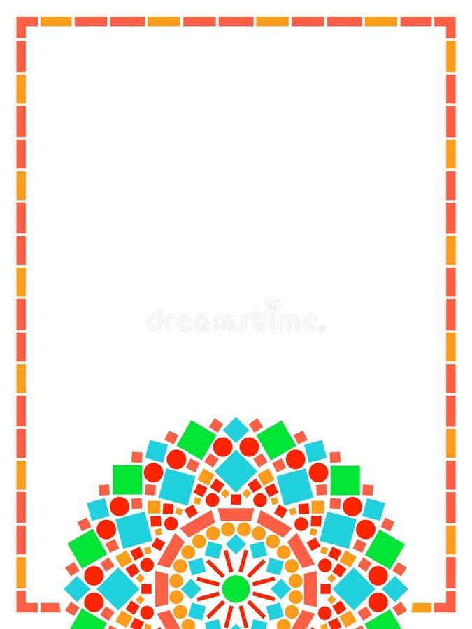 Kleurrijke het kaderachtergrond van cirkel bloemenmandala in groen en oranje op wit, vector stock illustratie