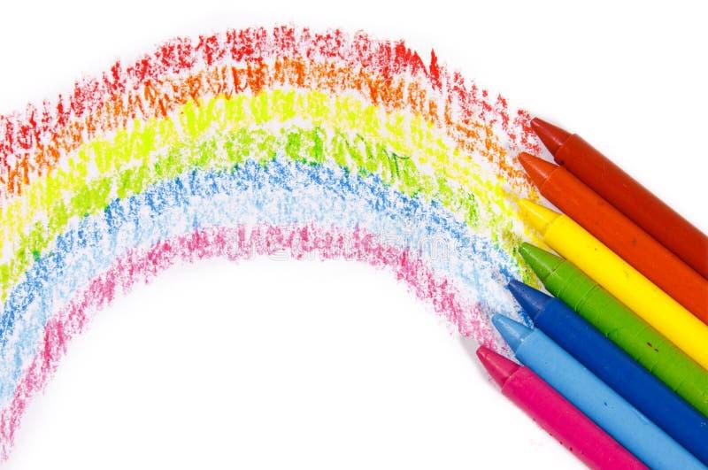 Kleurrijke het kleurpotloodkleur van de regenboog voor kinderen royalty-vrije stock afbeeldingen