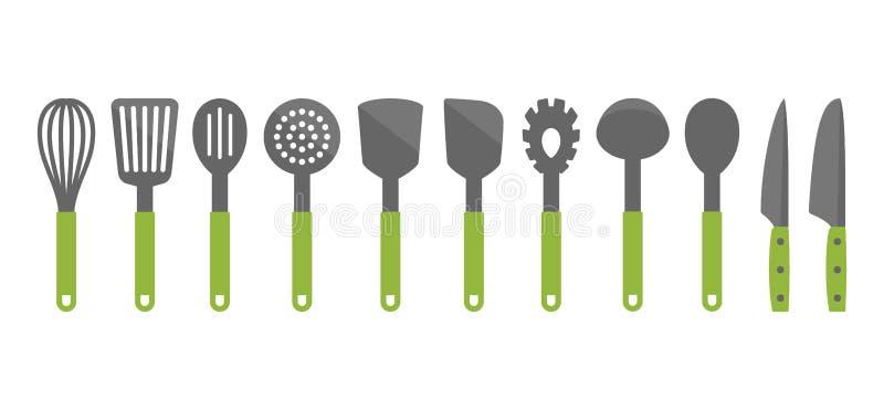 Kleurrijke het koken werktuigreeks hulpmiddelen Pictogrammen van het keukengereedschap de vectorbeeldverhaal vector illustratie