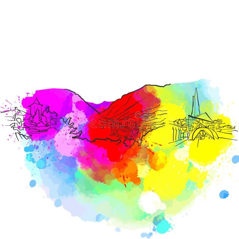 Kleurrijke het Oriëntatiepuntbanner van Andorra royalty-vrije illustratie