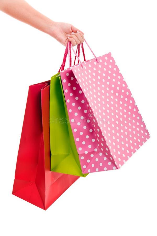 Kleurrijke het winkelen zakken stock afbeeldingen
