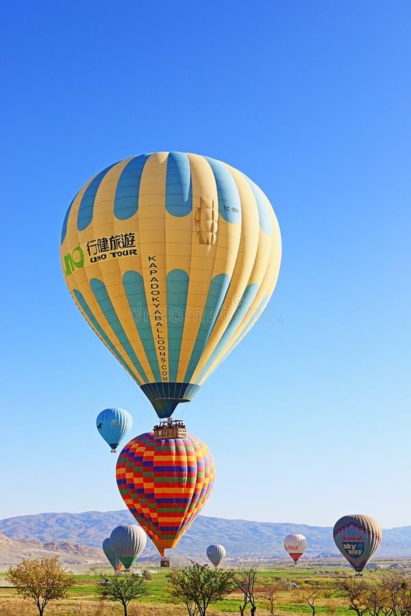 Kleurrijke hete luchtballons die in de lentelandschap landen stock fotografie