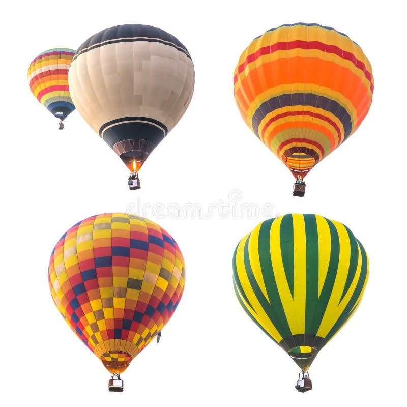 Kleurrijke hete luchtballons die op witte achtergrond worden geïsoleerd stock foto's