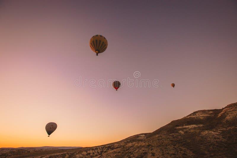 Kleurrijke hete luchtballons die over de vallei vliegen stock foto's