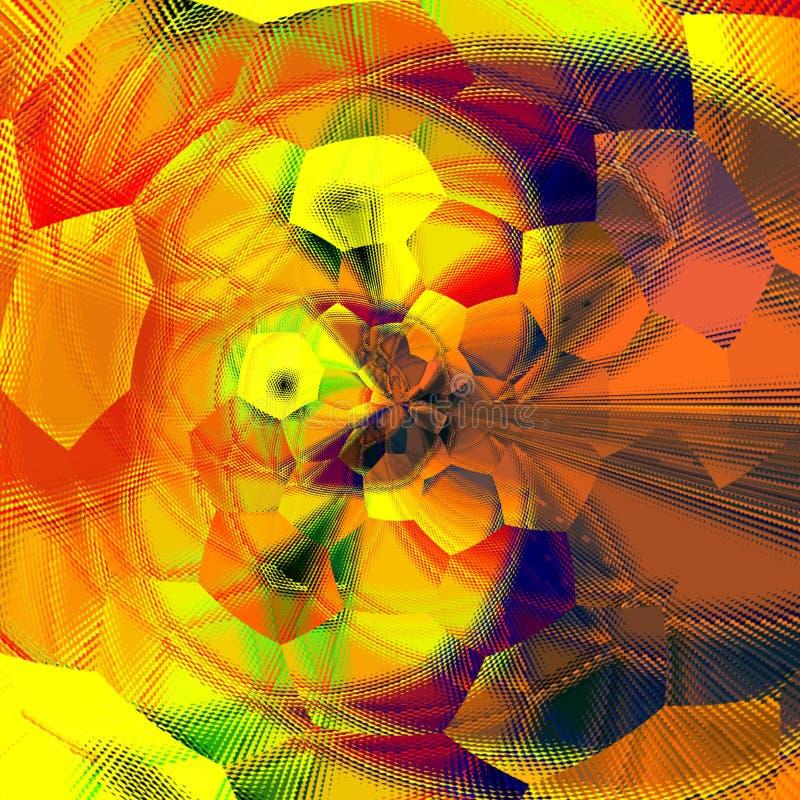 Kleurrijke hexagonale illustratie van regenboog gekleurd achtergrond gebreid effect op oranje achtergrond vector illustratie