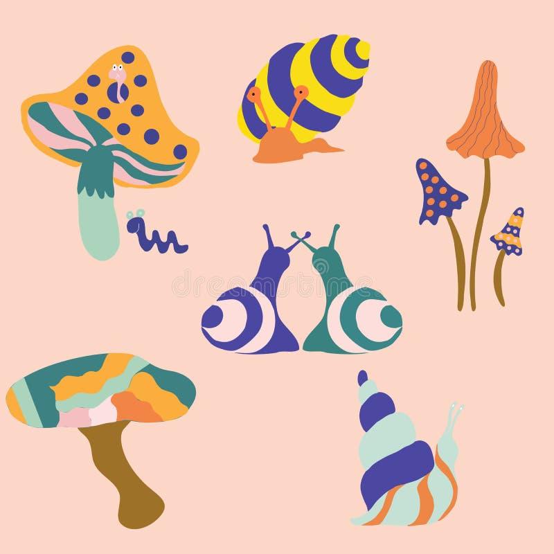 Kleurrijke hip slakken en paddestoelen, vectorillustraties vector illustratie