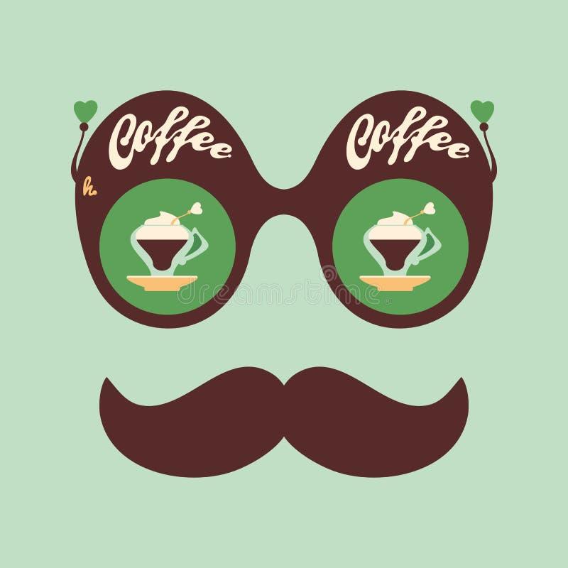 Kleurrijke hipster uitstekende zonnebril met geurige koffie vector illustratie