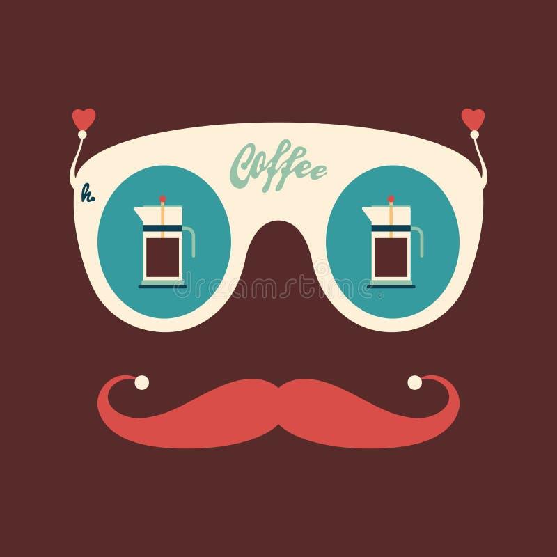 Kleurrijke hipster uitstekende zonnebril met koffieketels royalty-vrije illustratie