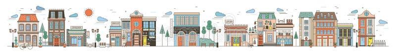 Kleurrijke horizontale cityscape met straat van Europees stadshoogtepunt van elegante gebouwen, woonhuizen, opslag en stock illustratie