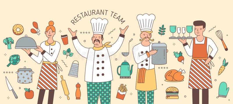 Kleurrijke horizontale die banner met leider, kok, kelner en serveerster door voedingsmiddelen en keukengerei wordt omringd vector illustratie