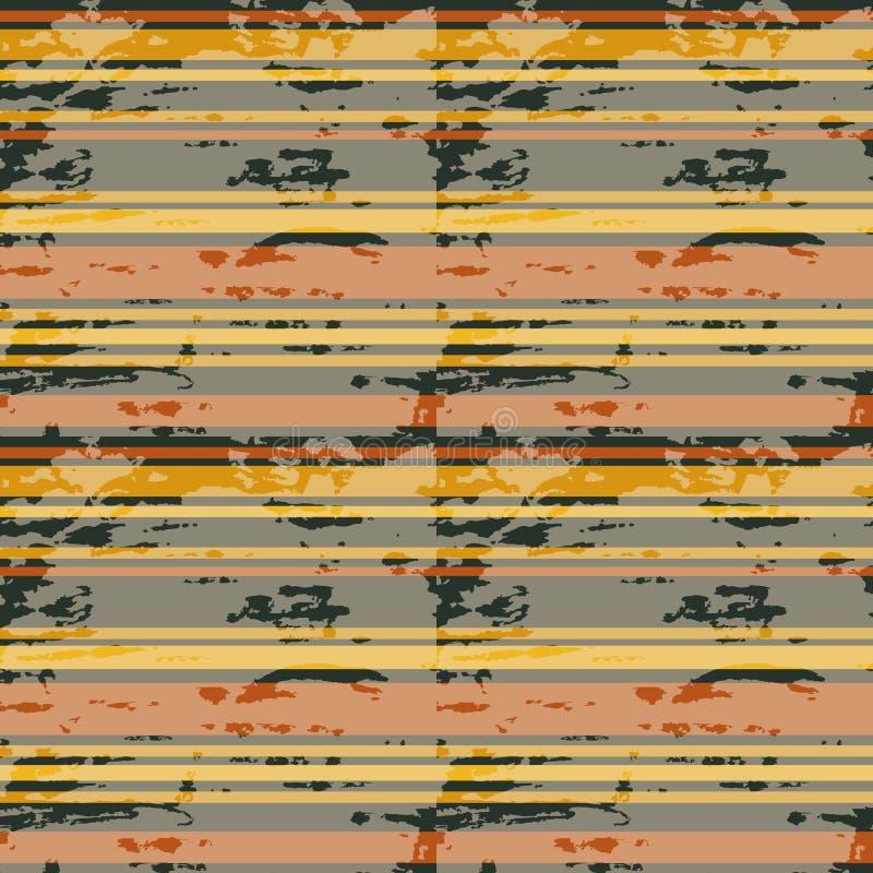 Kleurrijke horizontale strepen Grunge naadloos patroon Vector royalty-vrije illustratie