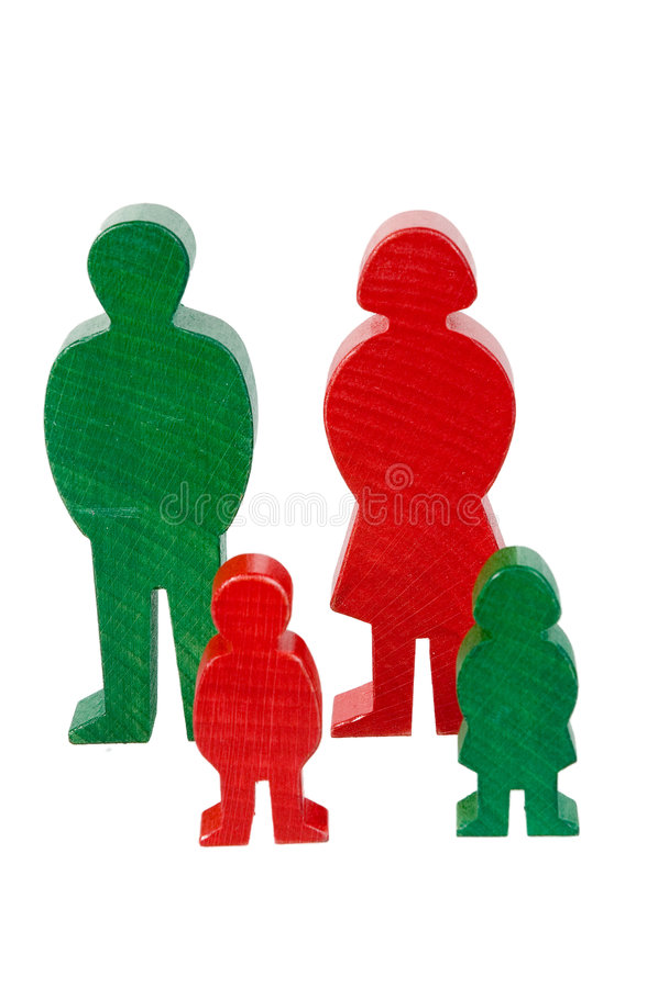 Kleurrijke houten familie stock foto's