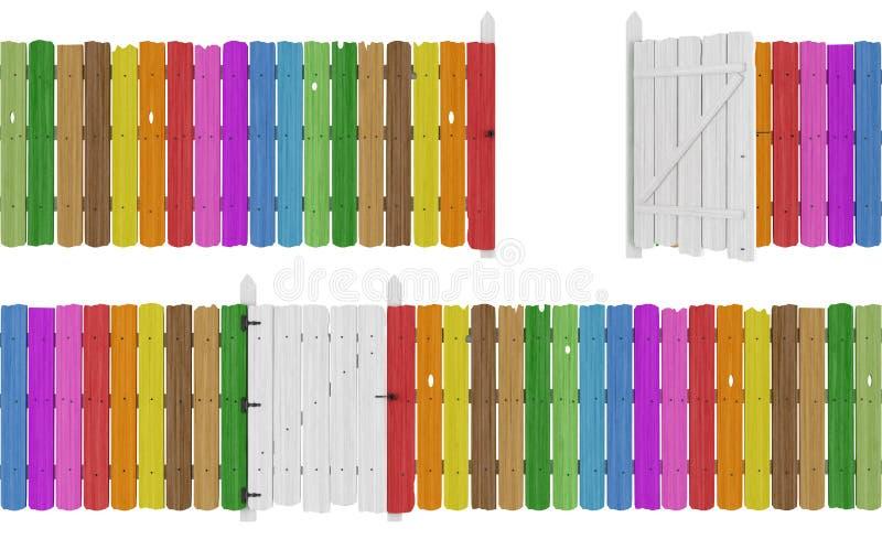 Kleurrijke houten omheining vector illustratie