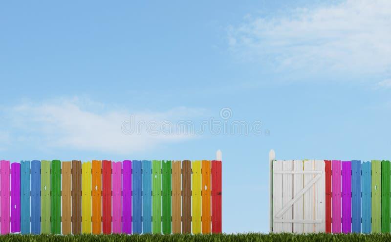 Kleurrijke houten omheining met open poort royalty-vrije illustratie
