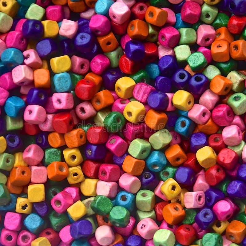 Kleurrijke Houten Parels stock afbeelding