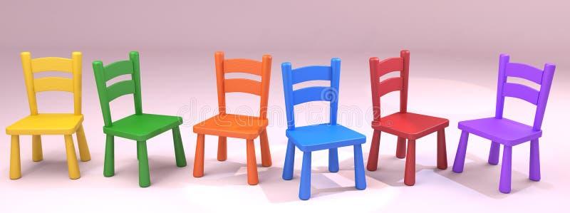 Kleurrijke houten schoolstoelen stock illustratie