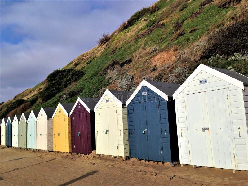 Kleurrijke Houten Strandhutten Bournemouth Dorset het UK royalty-vrije stock fotografie