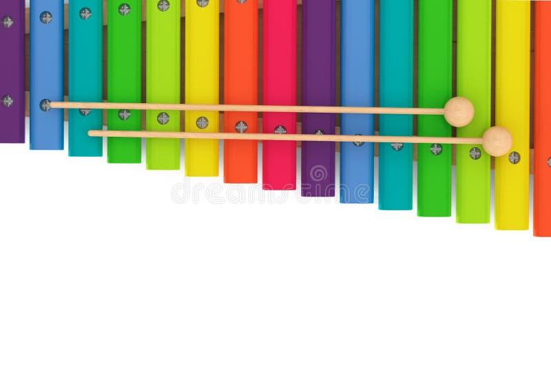 Kleurrijke houten xylofoon met houten hamers vector illustratie