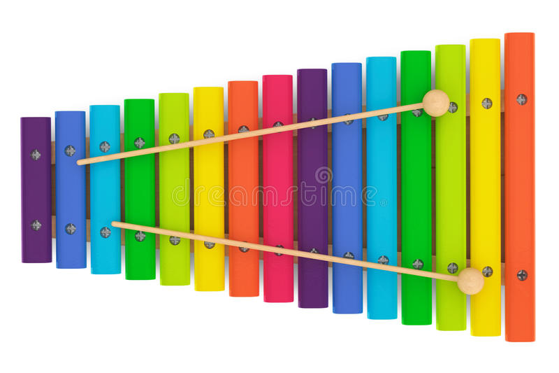 Kleurrijke houten xylofoon met houten hamers stock illustratie
