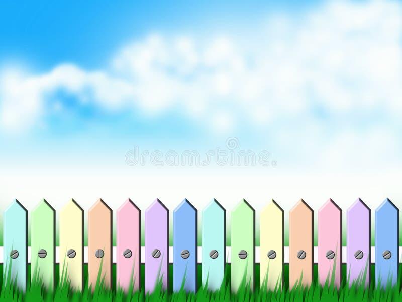 Kleurrijke huisomheining   royalty-vrije illustratie