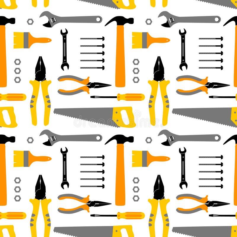 Kleurrijke huisreparatie en het naadloze patroon van de huisvernieuwing met bouwwerkzaamheidhulpmiddelen Handinstrument: hamer stock illustratie
