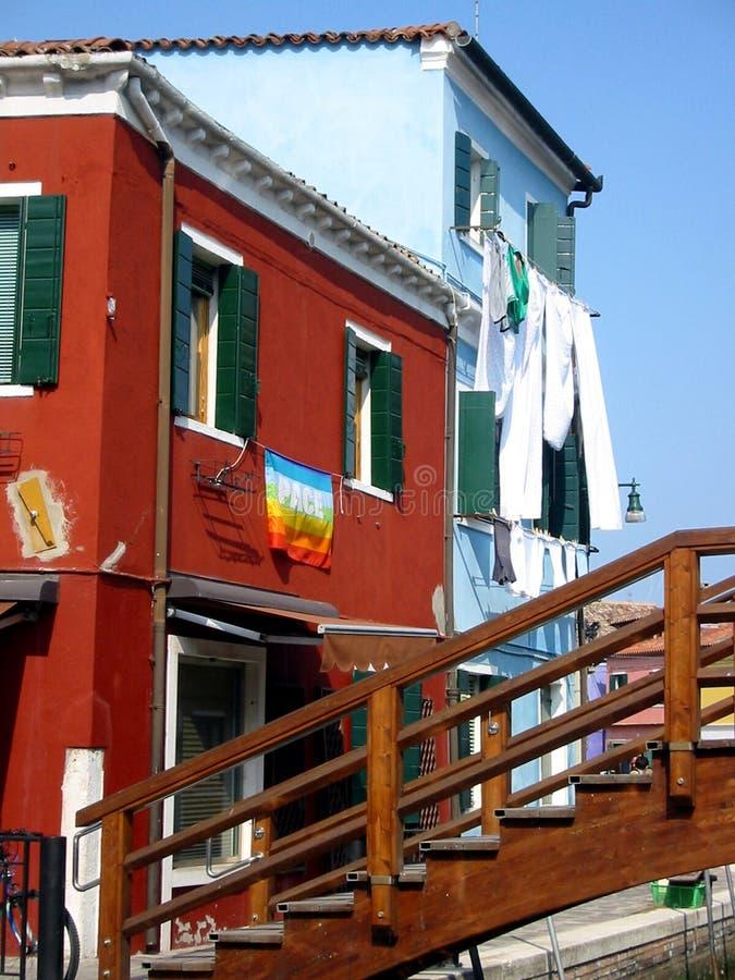Kleurrijke huizen Burano Venetië stock afbeelding