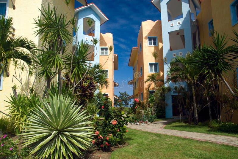 Kleurrijke huizen in Dominicaanse Republiek stock foto