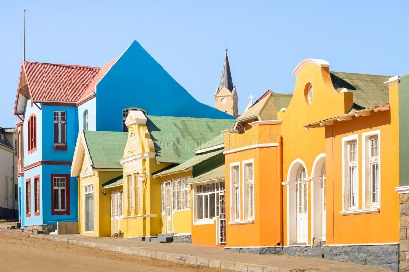 Kleurrijke huizen in Luderitz - Architectuurconcept in Namibië royalty-vrije stock fotografie