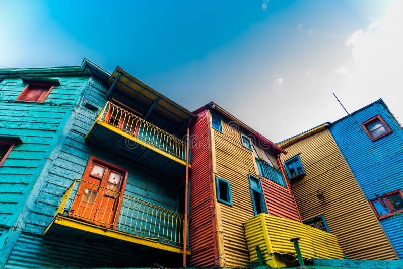 Kleurrijke huizen op Caminito-straat in de buurt van La Boca, Buenos aires royalty-vrije stock foto