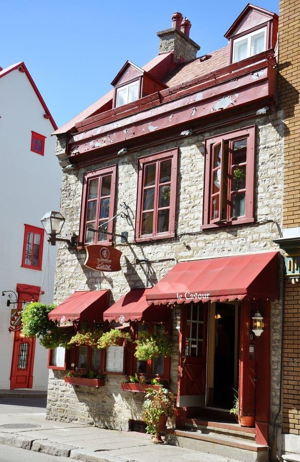 Kleurrijke Huizen op Rue Saint Louis, de Stad van Quebec royalty-vrije stock fotografie