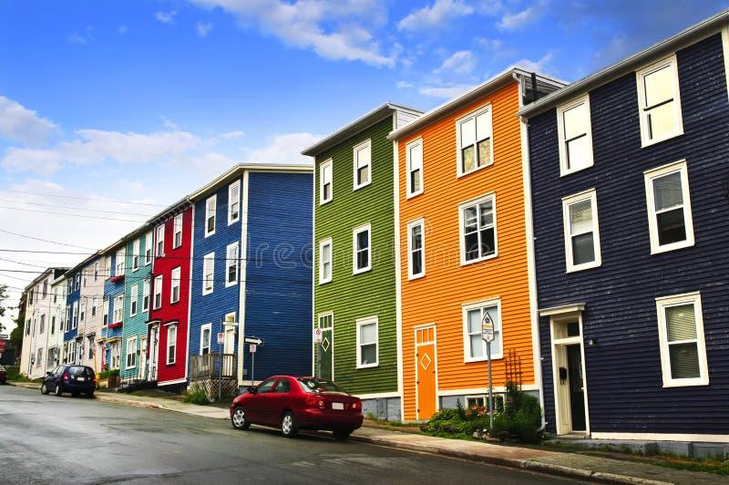 Kleurrijke huizen in St. John royalty-vrije stock afbeeldingen