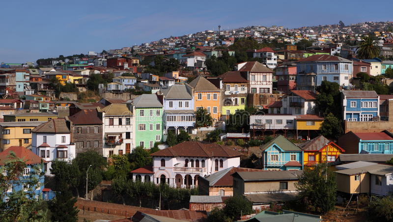 Kleurrijke huizen in Valparaiso, Chili stock afbeelding