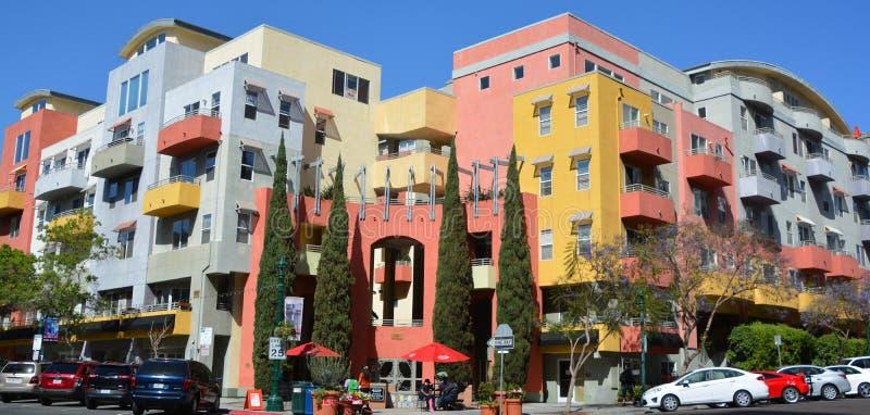 Kleurrijke huizen in Weinig Italië San Diego royalty-vrije stock afbeeldingen