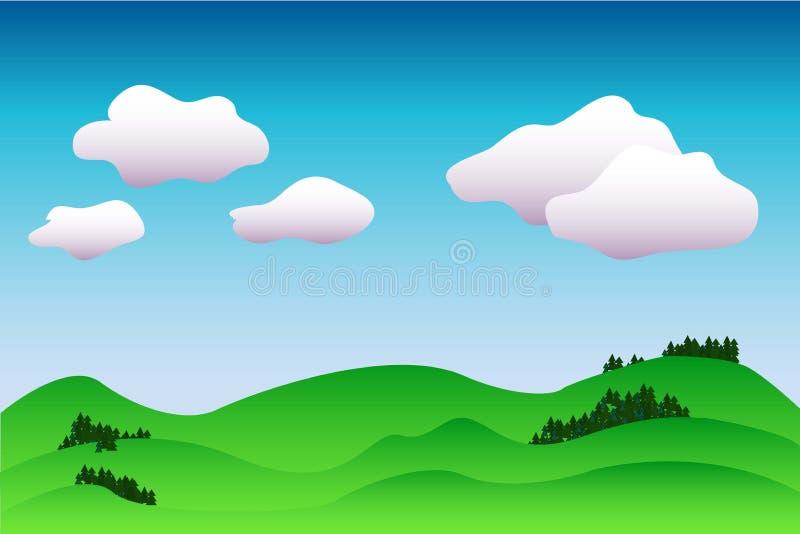 Kleurrijke idyllische landschapsachtergrond in blauwe en groene, vreedzame illustratie met de plaats voor tekst stock illustratie