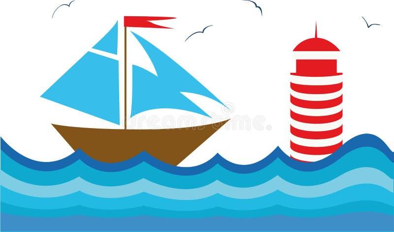 Kleurrijke illustratie met een sailboot royalty-vrije illustratie