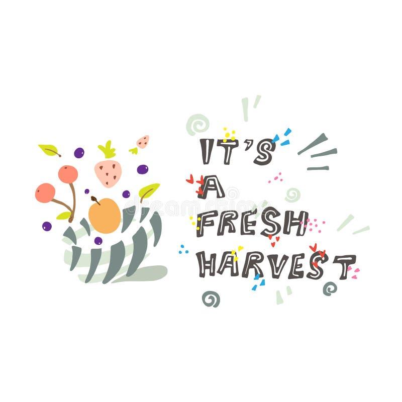Kleurrijke illustratie over de eerste oogst stock illustratie
