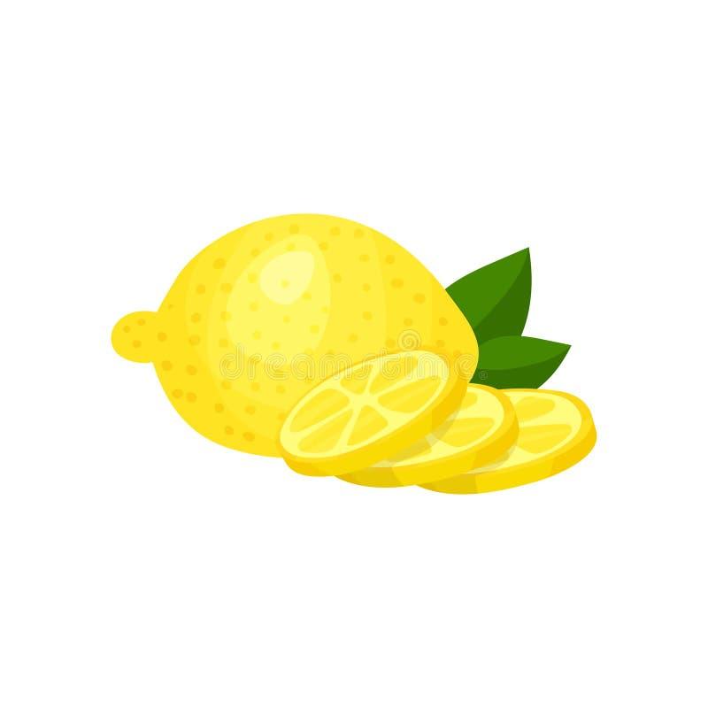 Kleurrijke illustratie van gehele verse citroen, drie ronde plakken en groene bladeren Tropische citrusvruchten Natuurlijk en royalty-vrije illustratie
