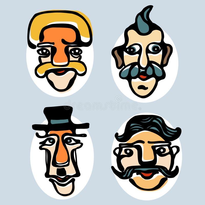 Kleurrijke illustratie van grappige gezichten 3 stock fotografie